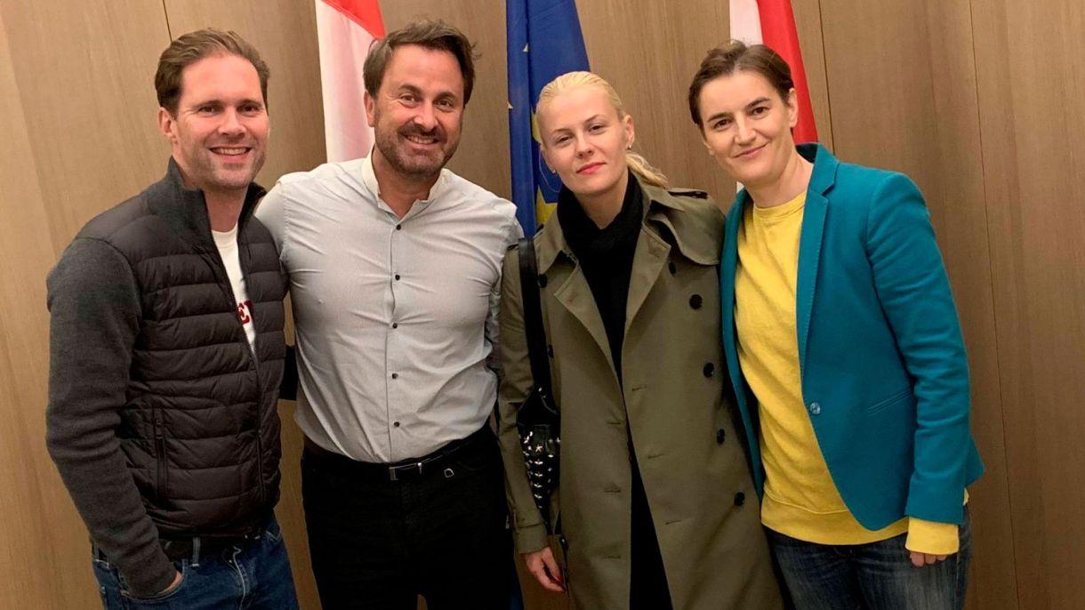 Gauthier Destenay, Xavier Bettel, MilicaĐurđić y Ana Brnabić