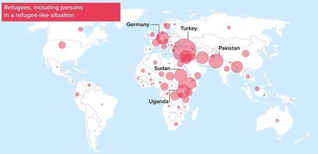 Mapa de los refugiados en el mundo (Fuente: ACNUR)
