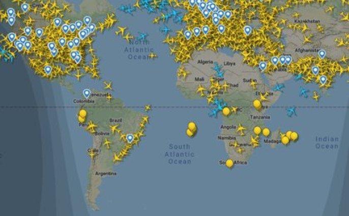 Mapa de vuelos sobre la Argentina