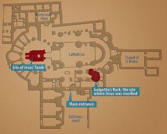 La tumba de Jesús, la entrada a la Iglesia y el Gólgota (el sitio donde Jesús fue crucificado)