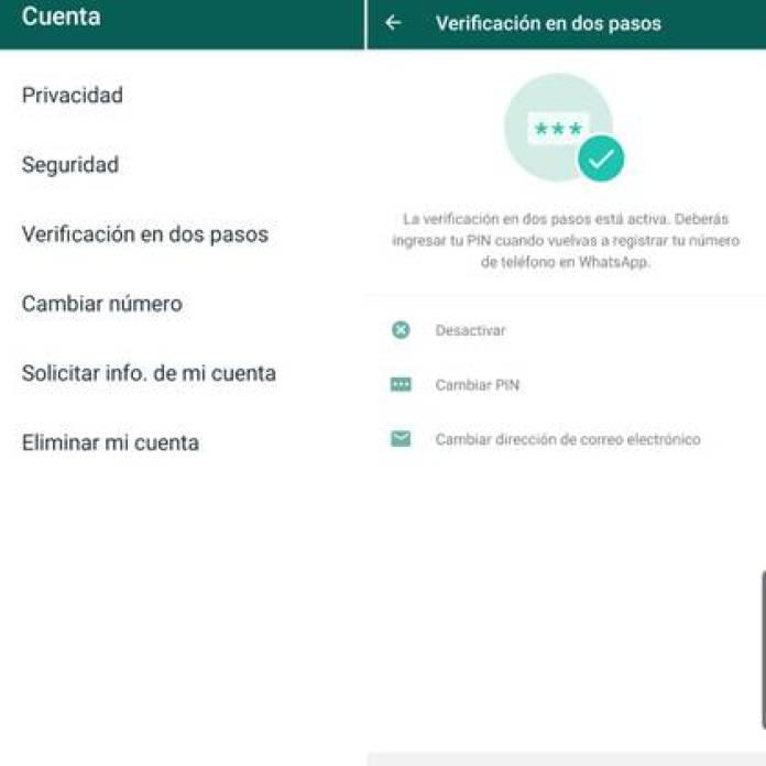 La verificación en dos pasos te permite crear un PIN de seis dígitos para añadir una capa de seguridad a tu WhatsApp.