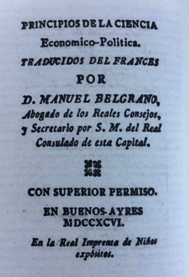 Una de las traducciones que hizo Belgrano, y que fue publicada por la imprenta de Niños Expósitos.