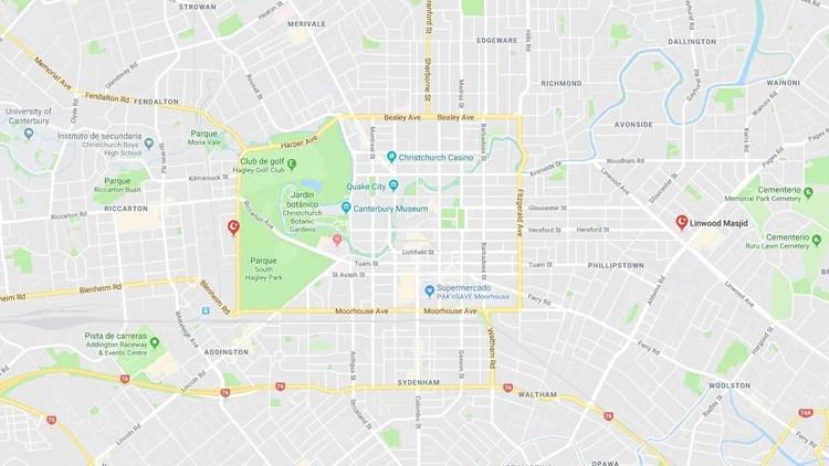 La ubicación de las dos mezquitas de Christchurch