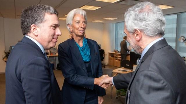 Dujovne, Lagarde y Cañonero, vice del BCRA, a comienzos de septiembre en el FMI