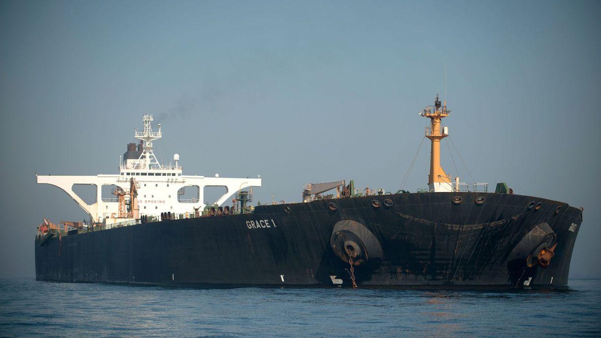 """El """"Grace 1"""" de bandera iraní cambió de nombre a """"Adrian Darya 1"""" tras zarpar de Gibraltar (AFP)"""