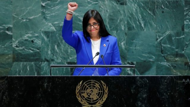 Delcy Rodríguez, vicepresidente del régimen chavista en Venezuela, habló en la Asamblea General de la ONU el viernes 27 de septiembre de 2019 (Reuters)