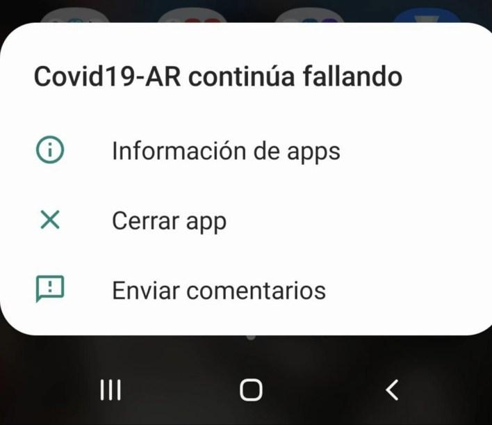 Aplicacion CUIDAR - no funciona - falla - error