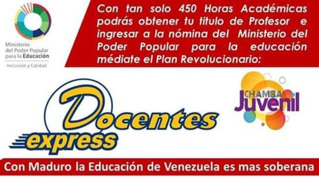 "La campaña ""Docentes express"" que lanzó el régimen chavista"