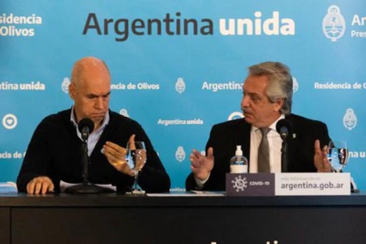 Horacio Rodríguez Larreta junto a Alberto Fernández (Franco Fafasuli)