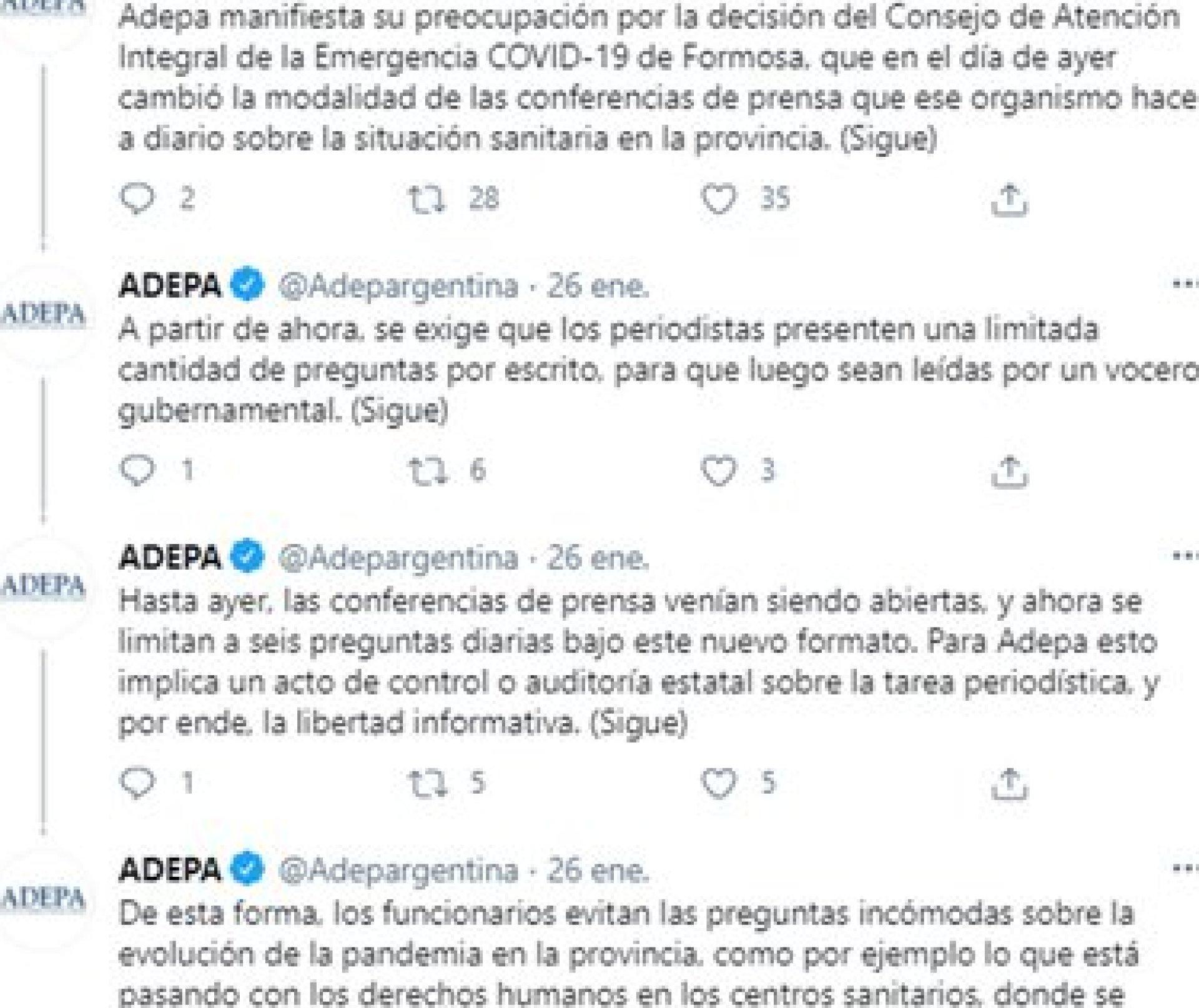 Hilo de Twitter publicado por ADEPA