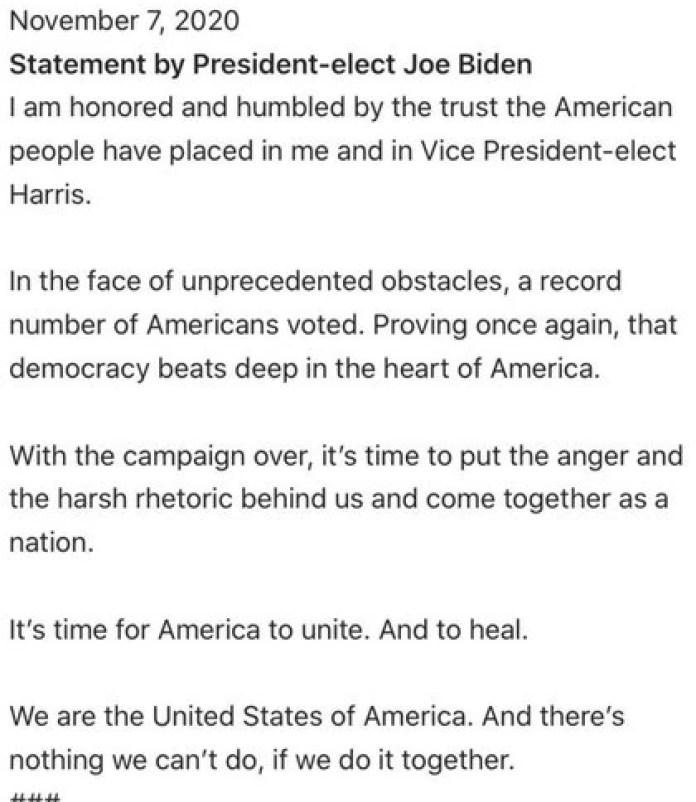 El comunicado de prensa del equipo de campaña de Joe Biden