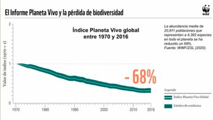 El Índice Planeta Vivo cayó 68% a nivel mundial en 2020 (Foto: Informe Planeta Vivo 2020 de WWF)