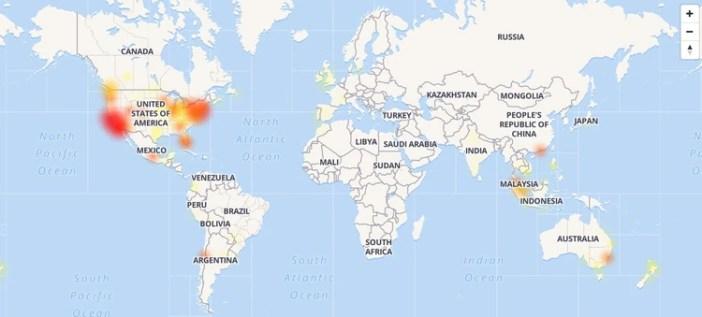 Las zonas en las que los usuarios reportaron el problema en Google Drive