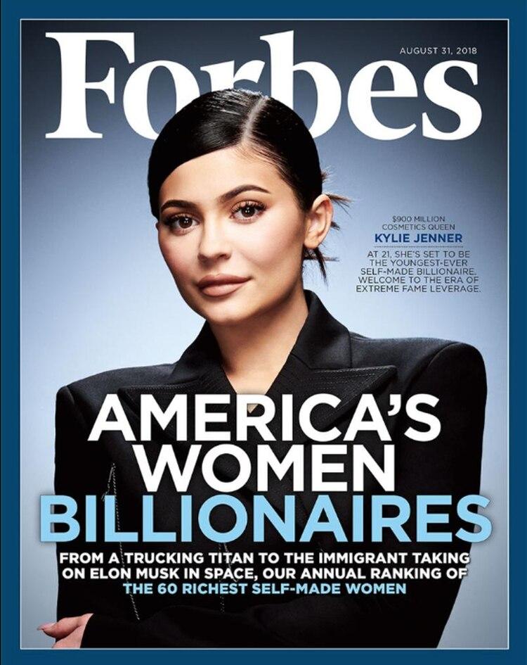 La tapa de Forbesde junio pasado en la que nombró a Kylie Jenner la multimillonaria más rica de la historia hecha por sí misma (Forbes)