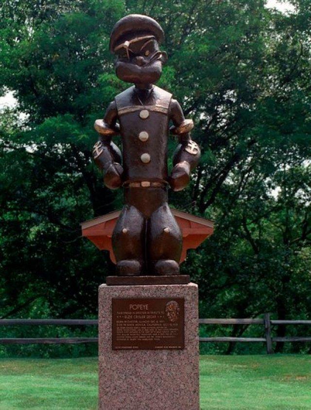 Incluso Popeye tiene su propia estatua en Chester, Illinois, ciudad de nacimiento de su escritor, Elzie Segar