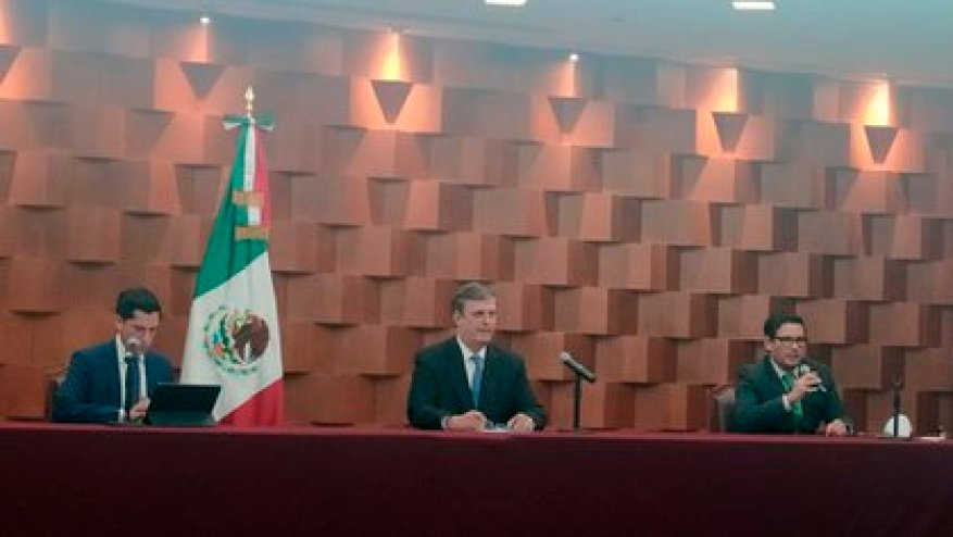 Marcelo Ebrard at a press conference on the return of Salvador Cienfuegos to Mexico (Photo: Patricia Juárez)