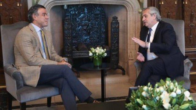 Alberto Fernández con Daniel Rafecas en su despacho de la Casa Rosada