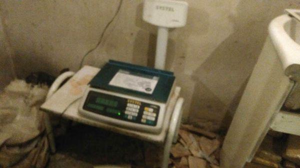 Un balancín utilizado para el fraccionamiento y posterior venta de la droga.