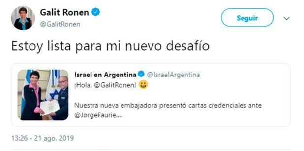 Así reflejó la diplomática en sus redes sociales la llegada a la Argentina