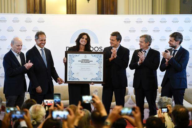 Gabriela Sabatini fue distinguida en la Cámara de Diputados (Maximiliano Vernazza)