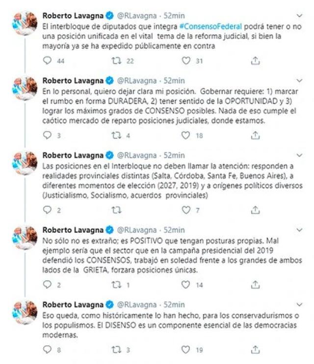 El hilo en Twitter que publicó Roberto Lavagna para exhibir su acercamiento con el Gobierno respecto a la Reforma Judicial