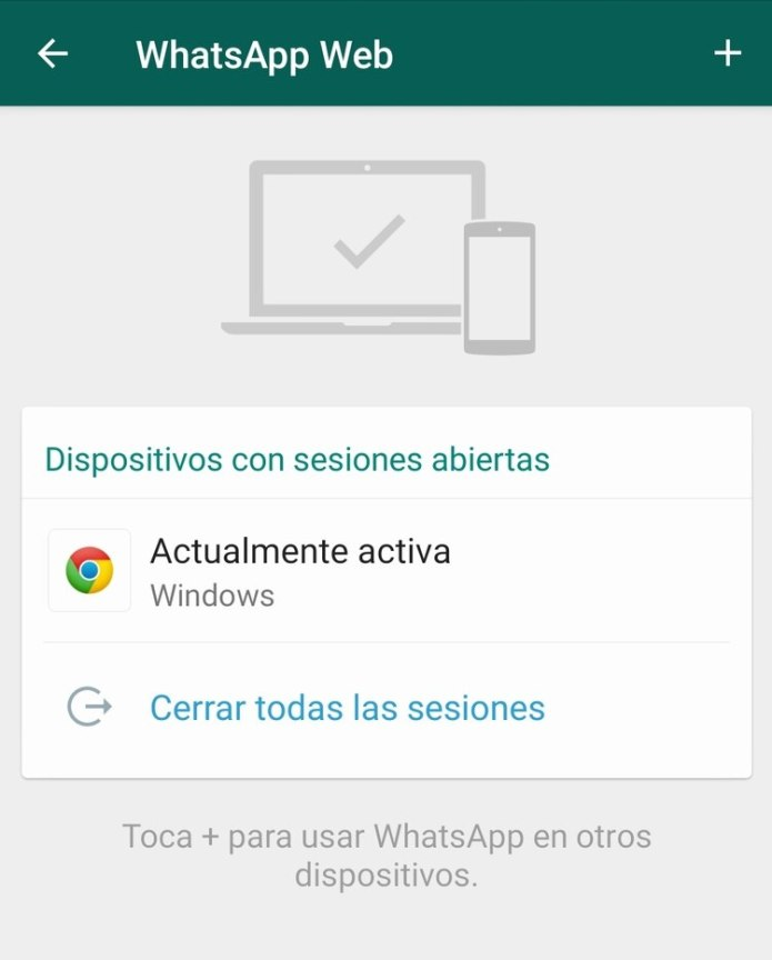 Cerrar las sesiones de WhatsApp web que no se reconozcan.