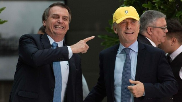 Bolsonaro y Macri durante el almuerzo oficial en el Museo del Bicentenario (Adrián Escandar)
