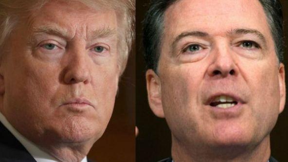Donald Trump y el ex jefe del FBI, James Comey, al que destituyó recientemente