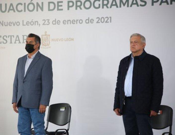 AMLO y Jaime Rodríguez en Nuevo León en la Evaluación de Programas para el Bienestar en el Municipio de Linares (Foto: Twitter @JaimeRdzNL)