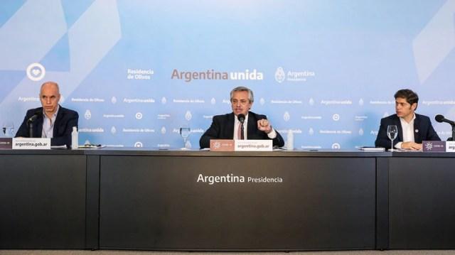 Alberto Fernández, Axel Kicillof y Horacio Rodríguez Larreta durante el anuncio anterior