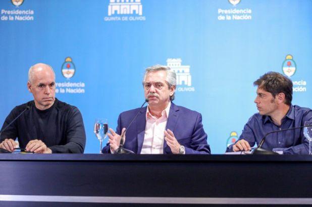 Horacio Rodríguez Larreta, Alberto Fernández y Axel Kicillof (REUTERS)