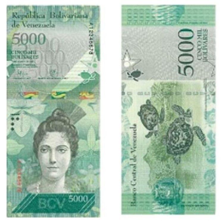 El billete de 5000 bolívares