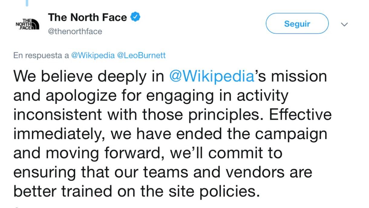 La disculpa de North Face (Foto: Twitter @TheNorthFace)