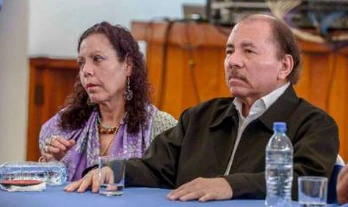 Daniel Ortega and his wife, Vice President Rosario Murillo, in Managua