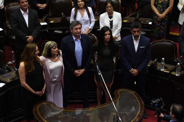 Máximo Kirchner, Luana Volnovich y Rodolfo Tailhade