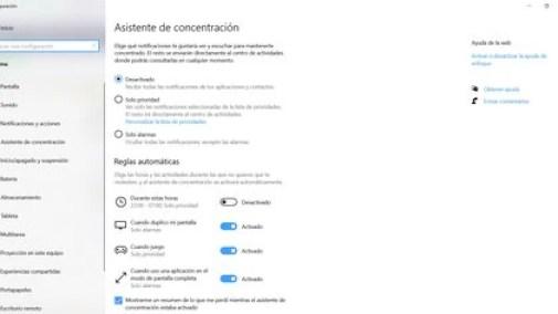 Asistente de concentración en Windows 10