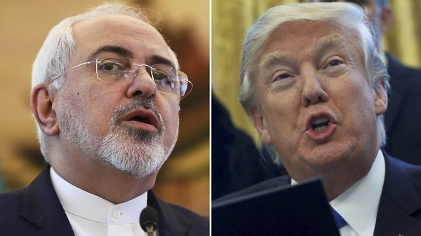 Mohamad Javad Zarif , canciller de Irán, y Donald Trump, presidente de los Estados Unidos