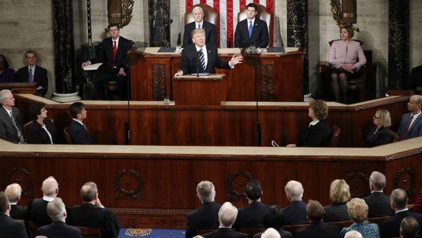 Dondal Trump durante su discurso ante el Congreso
