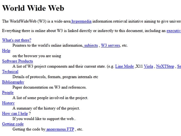Ésta es la primera página web de la historia.