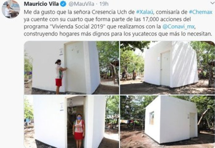 In the photographs she uploaded, a woman identified as Cresencia Uch, Chemax municipality commissioner, is shown receiving the keys to her new home (Photo: Twitter)