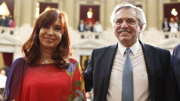 Cristina Kirchner y Alberto Fernández en el Congreso (Prensa Senado)