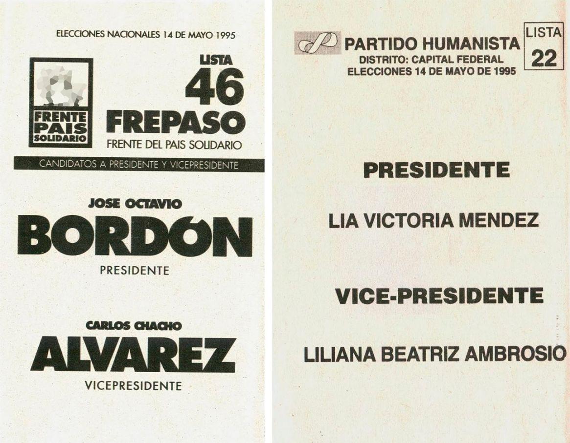 La boleta del FREPASO y la que tuvo a la primera candidata mujer desde el regreso de la democracia
