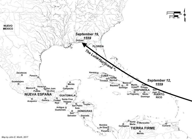 Un mapa que muestra el camino del huracán que azotó el 19 de septiembre de 1559. CORTESÍA DEL DR. JOHN WORTH
