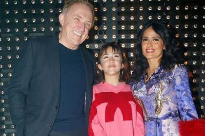 Paloma Valentina Pinault posing with his famous parents (Picture: Instagram@shutterstocknow)