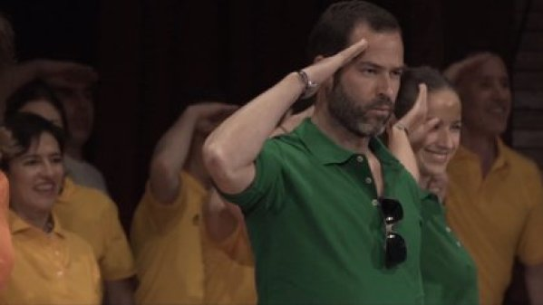 Emiliano Salinas stands in front of the entire NXIVM dance group (Photo: Frank Report video capture)