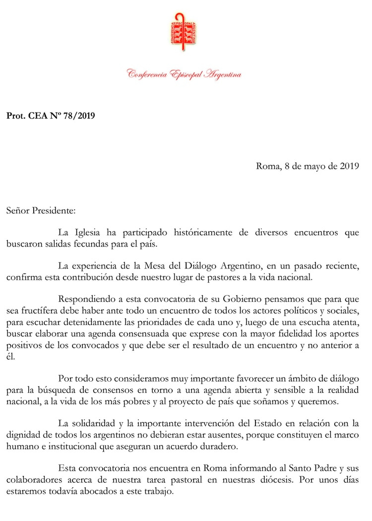 El comunicado de la Conferencia Episcopal, fechado en Roma