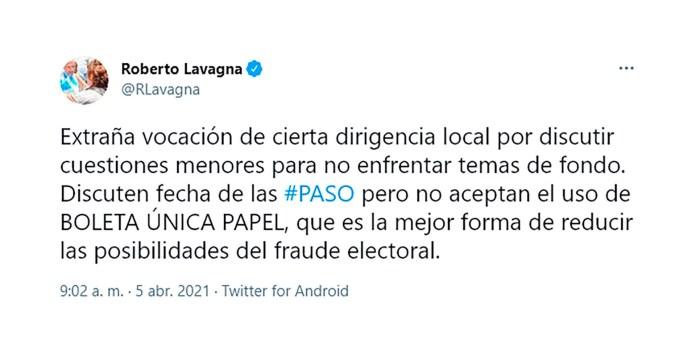 Roberto Lavagna tuit