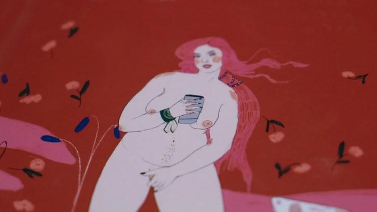 En la ilustración, la mujer busca el propio placer sexual, sin necesidad de que haya un otro. (Crédito: Santiago Saferstein)