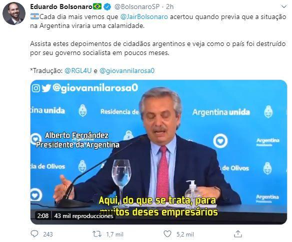 Eduardo Bolsonaro critica al Oficialismo Argentino