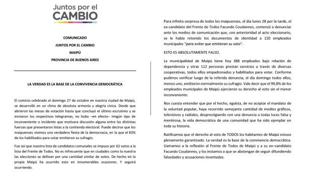 """Comunicado de Juntos por el Cambio desmintiendo la presunta """"retención"""" de DNI en Maipú."""